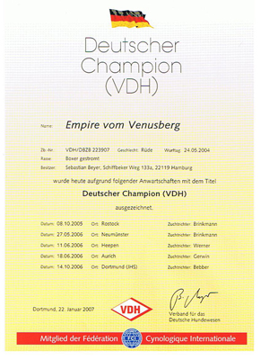 VDH-Urkunde